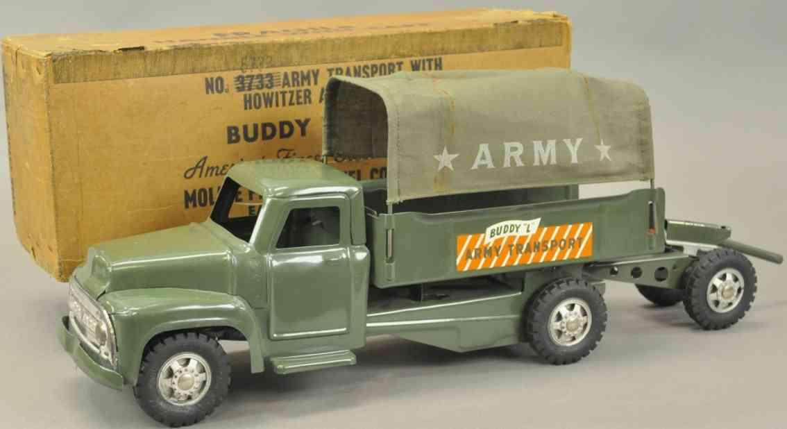 buddy l 5733 blech spielzeug militaer-transportwagen mit haubitze oliv