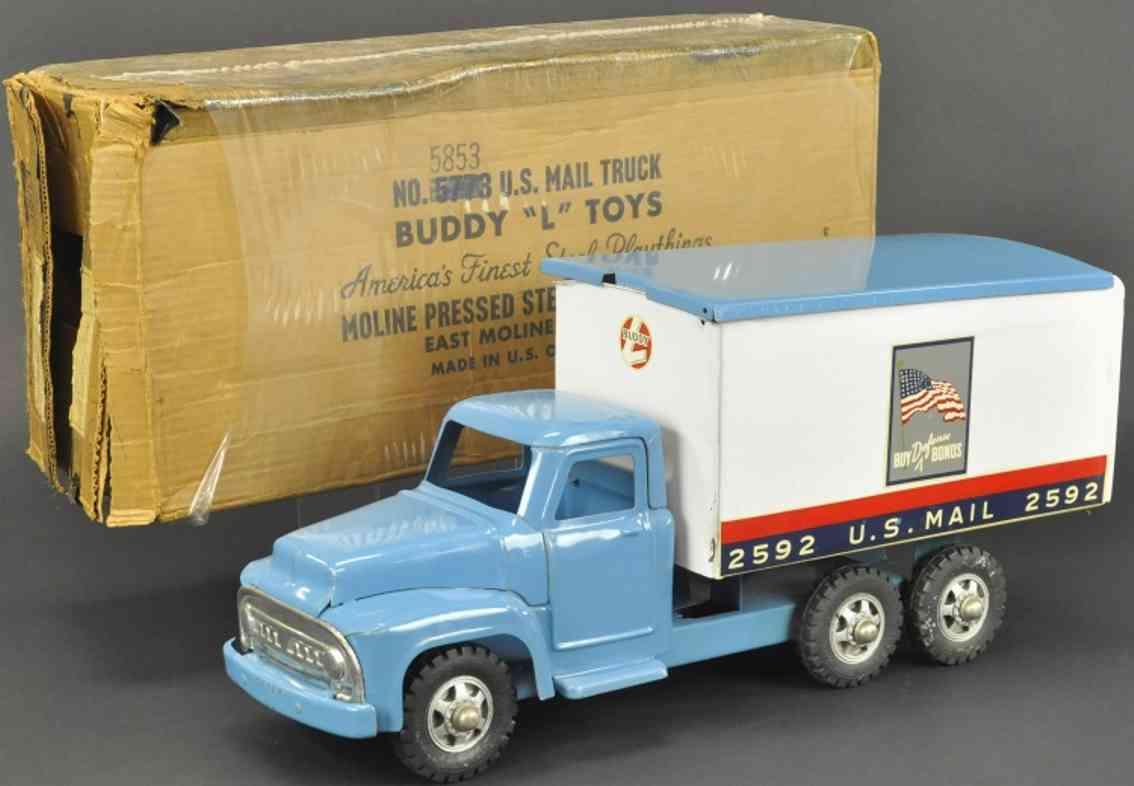 buddy l 5853 stahlblech spielzeug us postwagen blau weiss