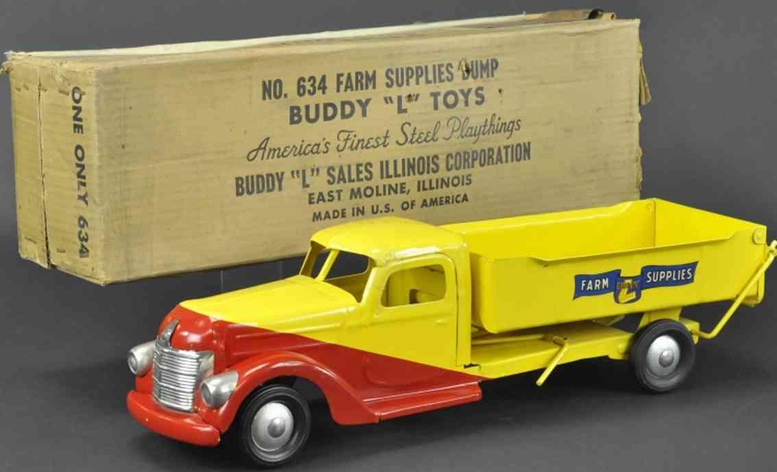 buddy l 634 spielzeug kipplastwagen stahlblech rot gelb