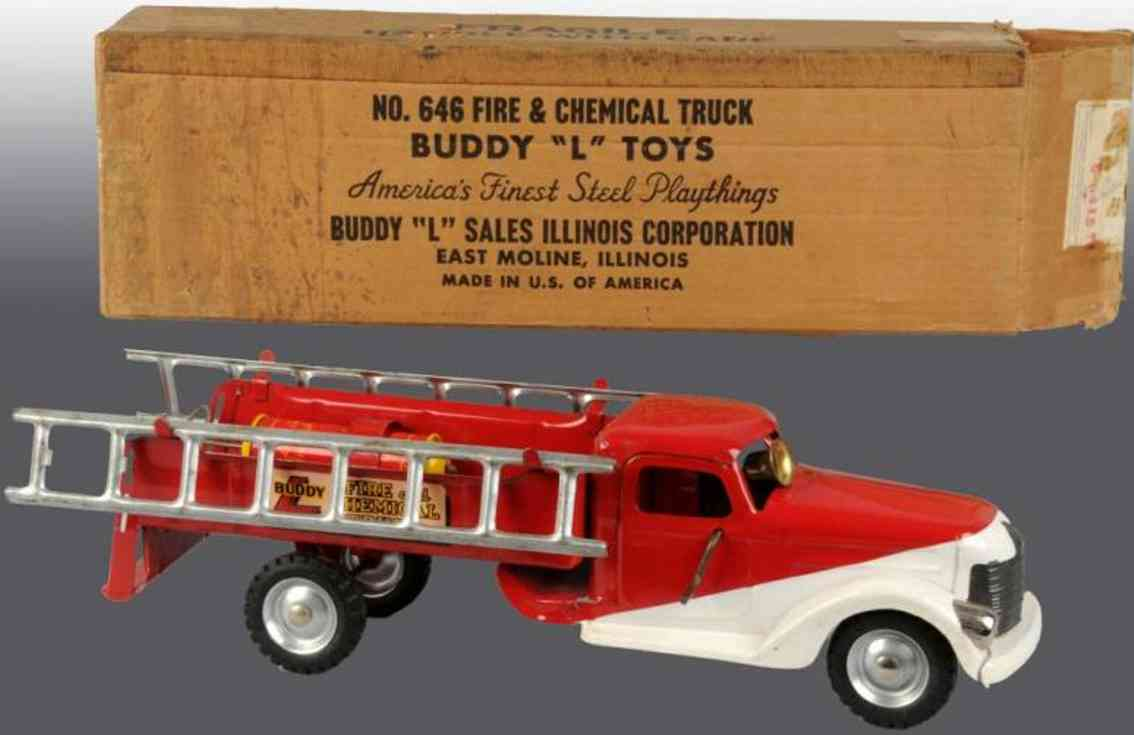 buddy l 646 tin toy fire engine fire chemical truck