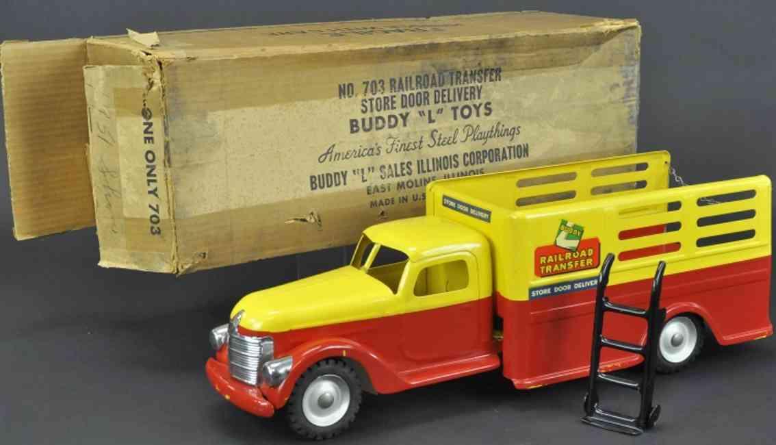 buddy l 703 stahlblech spielzeug eisenbahnlieferwagen rot gelb