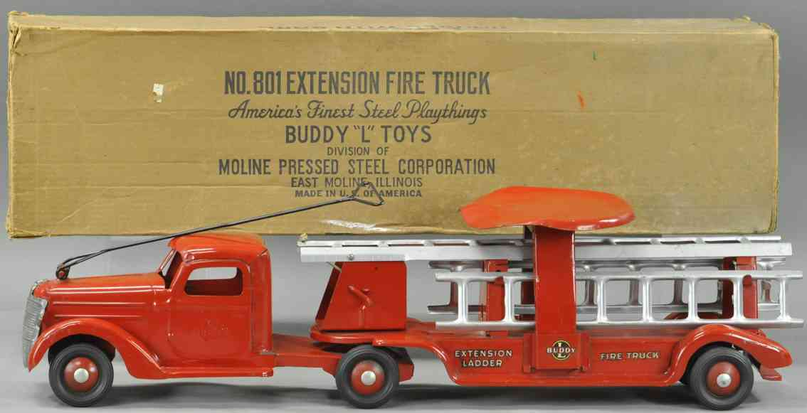 buddy l 801 tin toy sit 'n ride car l'extension fire ladder truck red 5751