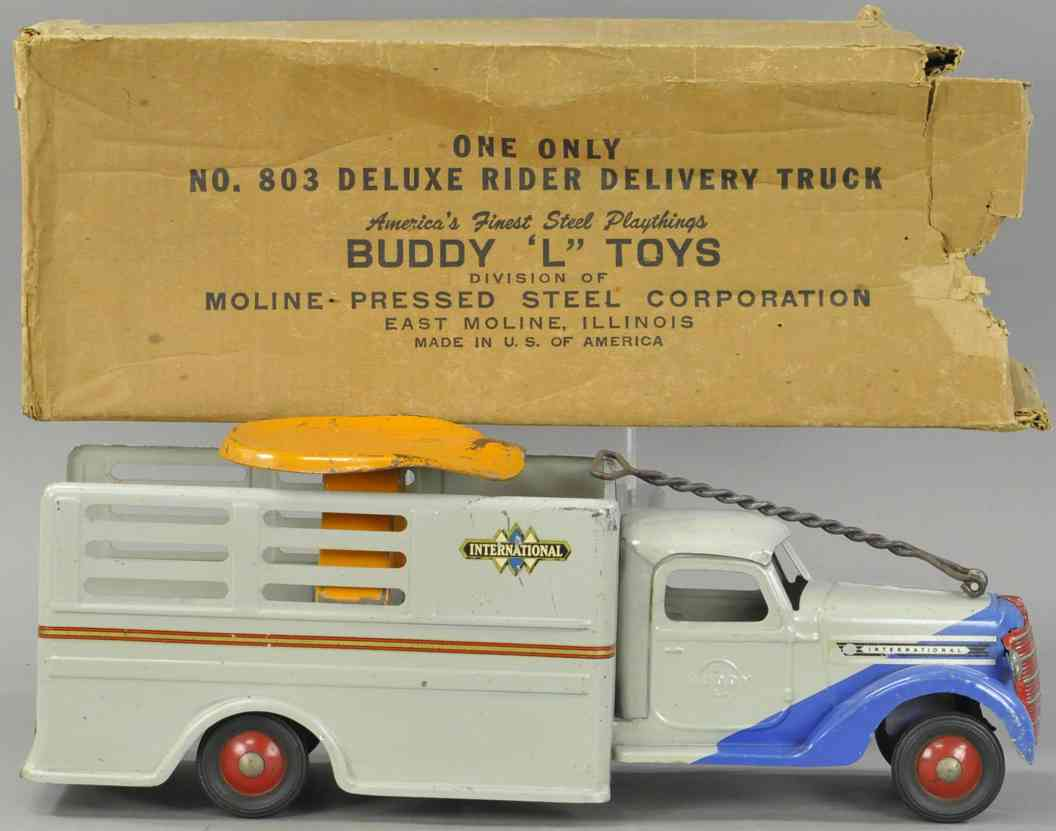 buddy l 803 pressed steel toy deluxe ride-on delivery truck
