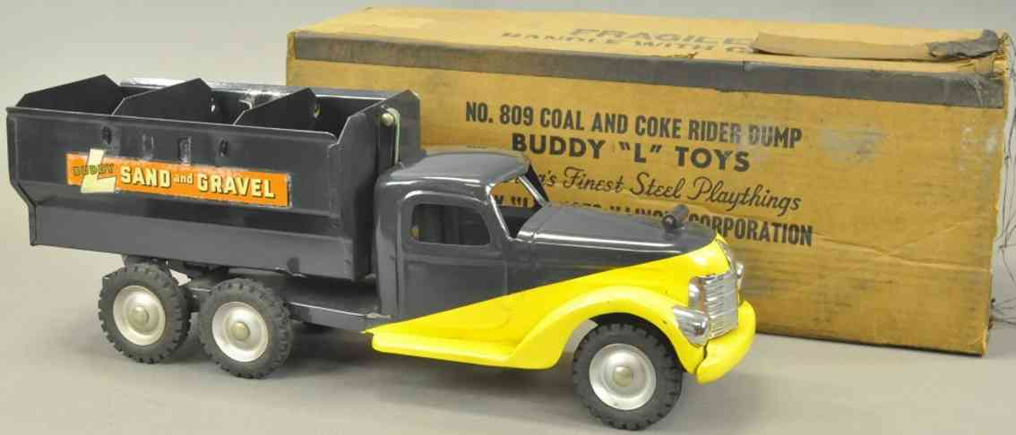buddy l 809 blech spielzeug kohle- und kokslastwagen blau gelb