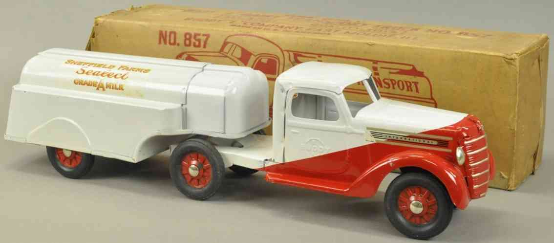 buddy l 857 stahlblech spielzeug milch-lastwagen weiss rot