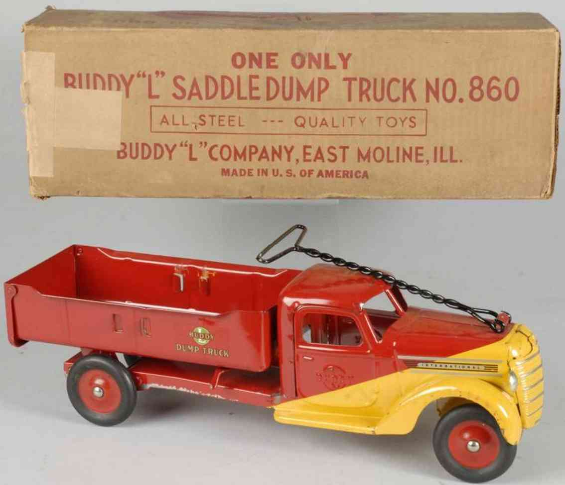 buddy l 860 pressed steel toy saddle dump truck red yellow