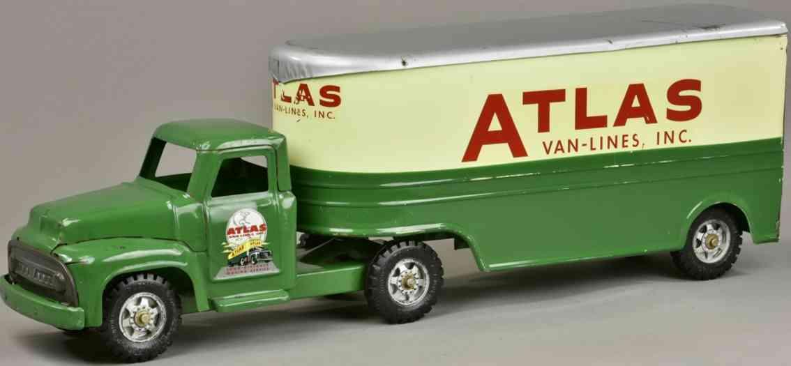 buddy l atlas stahlblech spielzeug umzugswagen gruen creme silbern