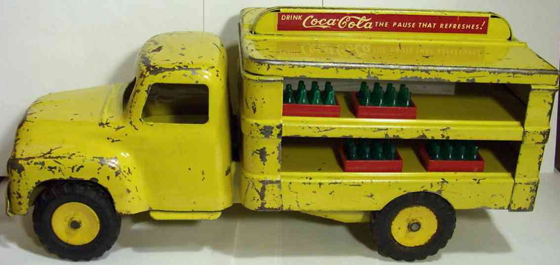buddy l coca cola tin toy delivery truck yellow