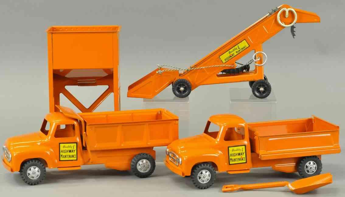 buddy l stahlblech spielzeug aubahn-instandhaltungsset zwei lastwagen orange