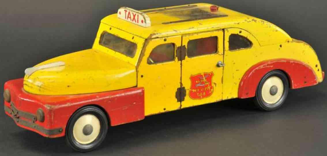 buddy l holz spielzeug auto taxi gelb rot