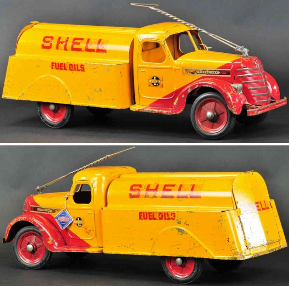 buddy l pressed steel toy  shell oil pull n ride handle truck