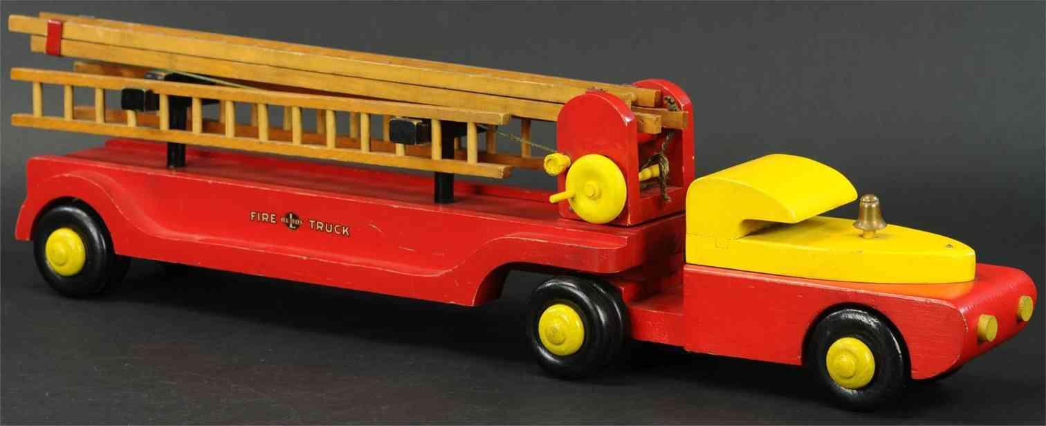 buddy l holz spielzeug auto feuerwehrwagen drehleiter rot gelb