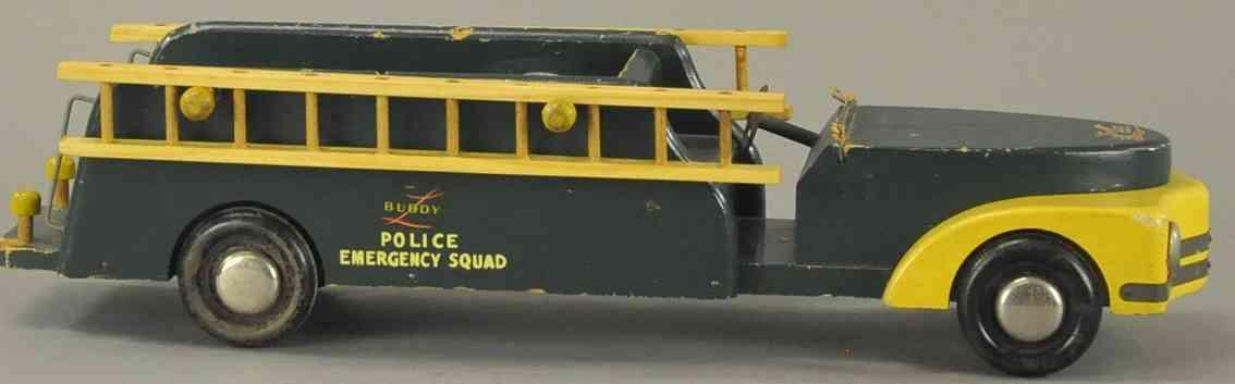 buddy l holz spielzeug auto poizeinotfallwagen gruen gelb lastwagaen