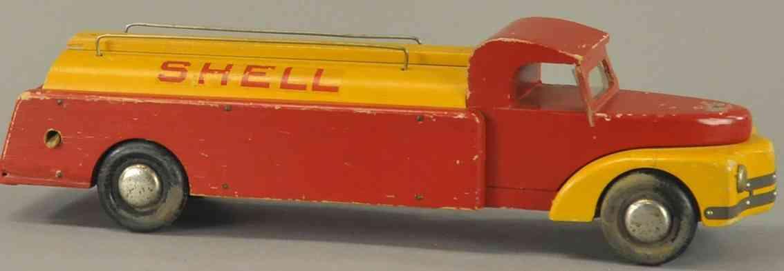 buddy l holz spielzeug auto tanklastwagen shell rot gruen