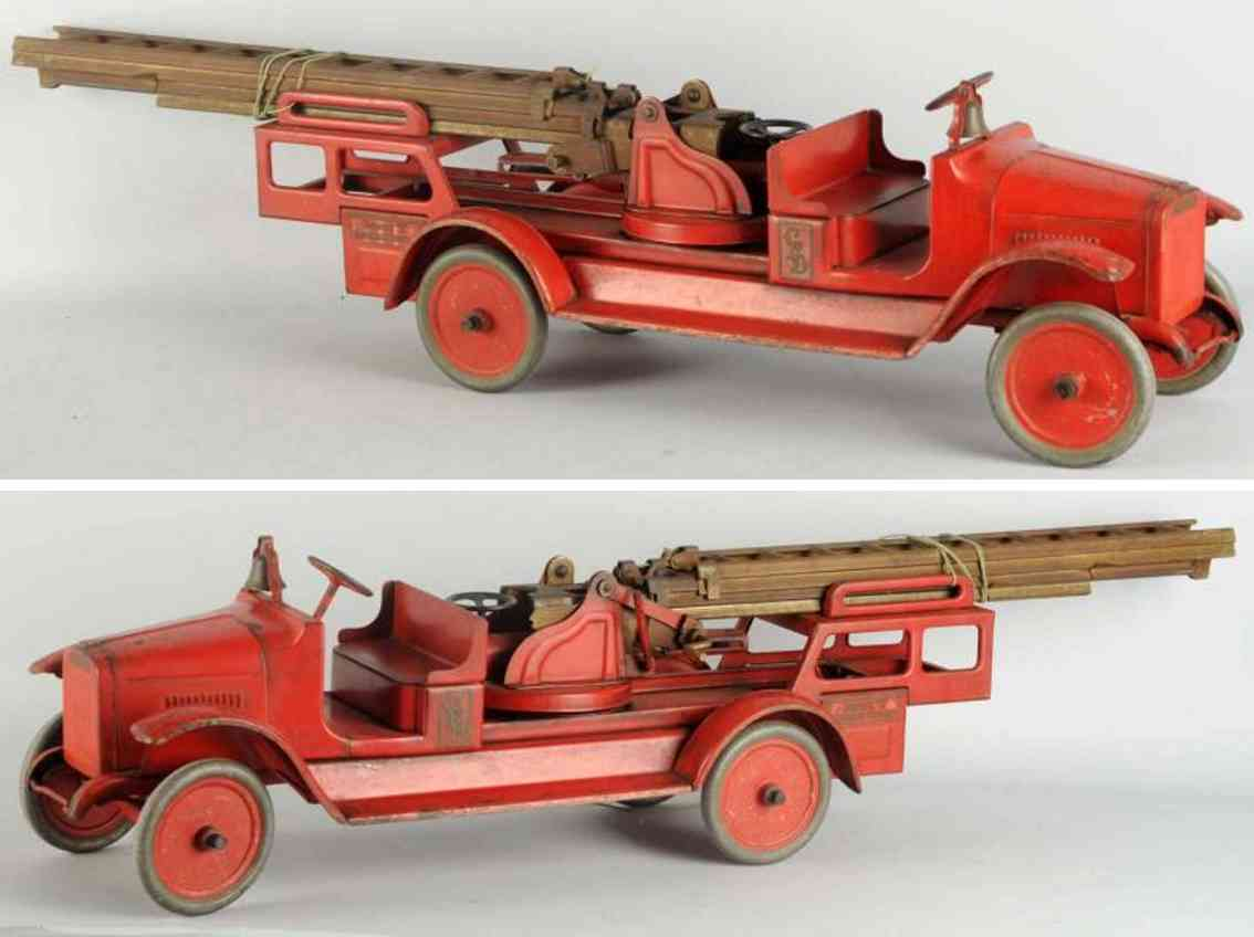 buddy l fire engine pressed steel aerial ladder truck toy