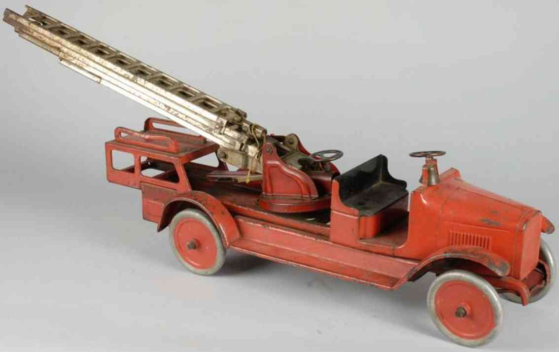 buddy l toy fire engine aerial ladder truck pressed steel