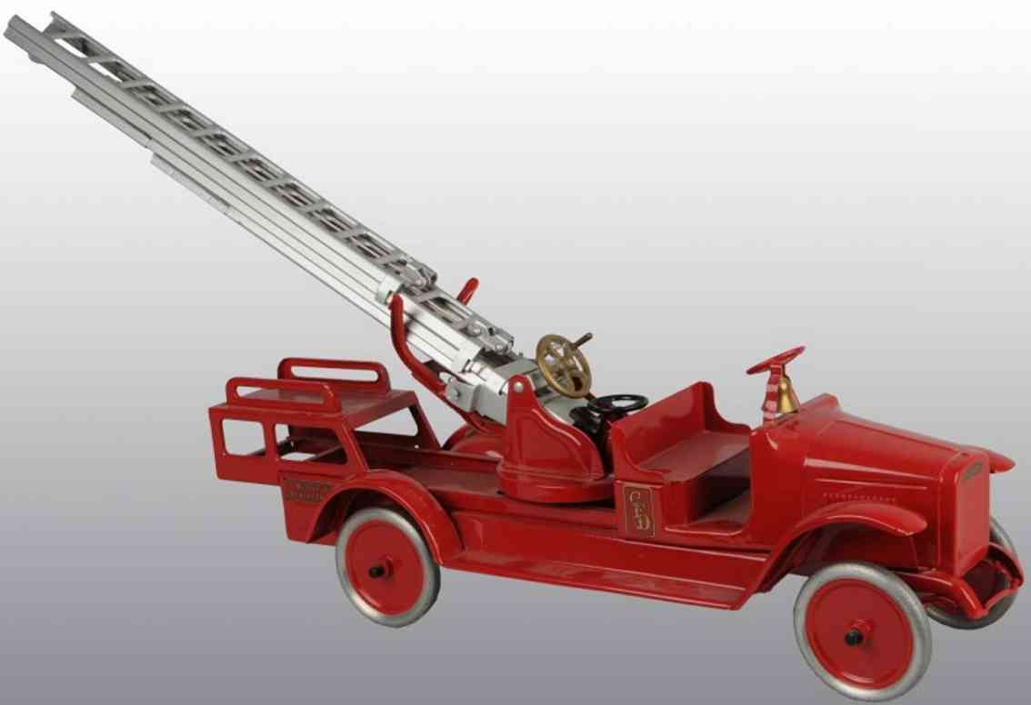 buddy l toy aerial ladder truck pressed steel
