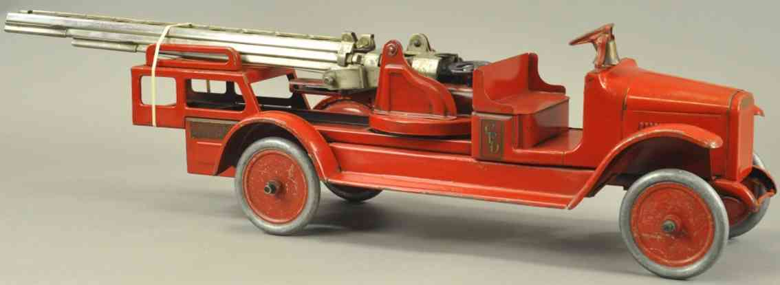 buddy l pressed steel toy fire engine hydraulic aerial ladder truck red