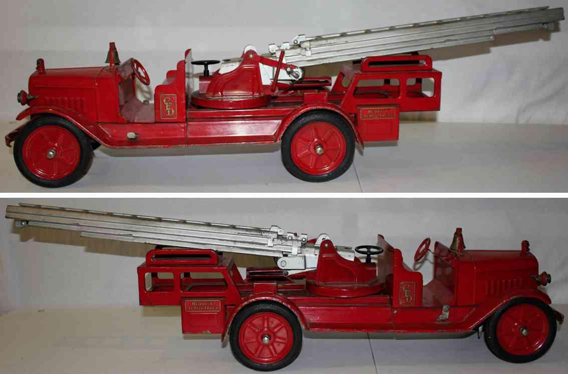 buddy l stahlblech spielzeug hydraulischer drehbarer aufsitz feuerwehrleiterwagen