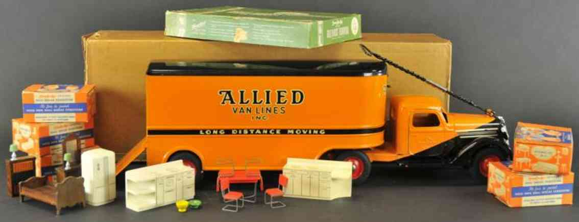 buddy l tin toy truck allied van lines furniture moving van