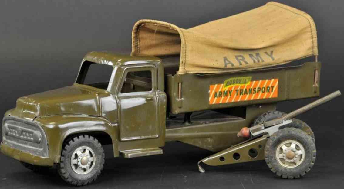 buddy l stahlblech spielzeug armee transportwagen oliv haubitze