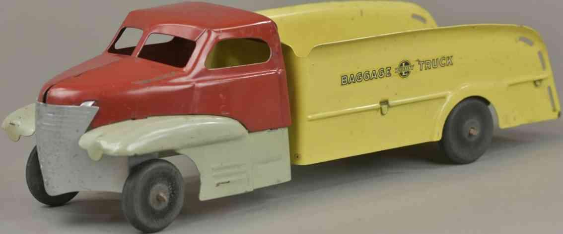 buddy l blech spielzeug lastwagen rot grau gelb baggage