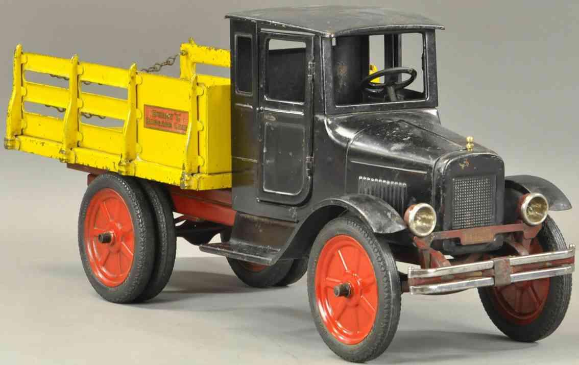 buddy l stahlblech spielzeug gepaeck-lastwagen schwarz gelb