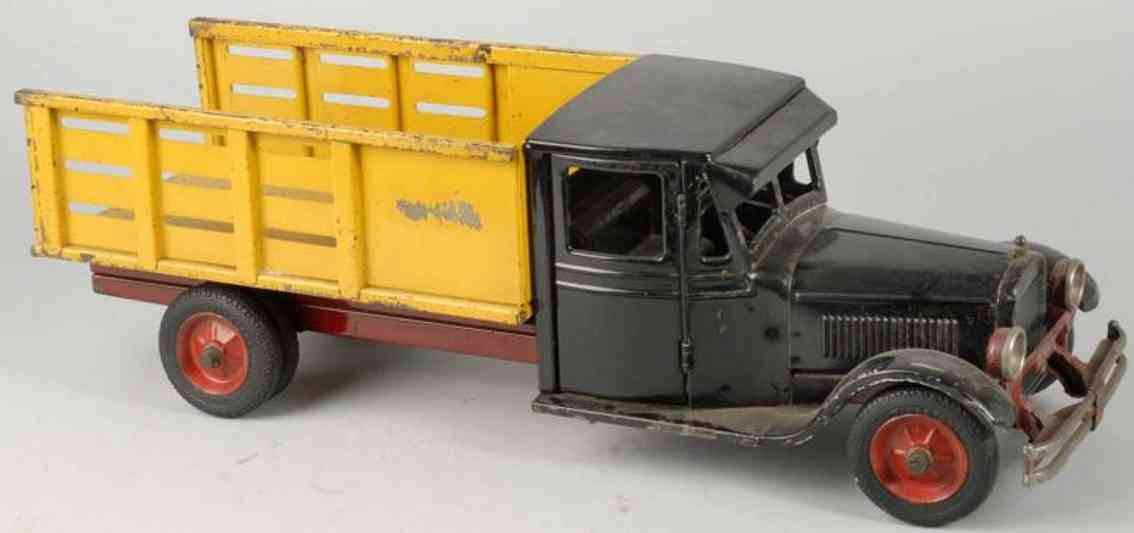 buddy l pressed steel toy baggage truck black yellow