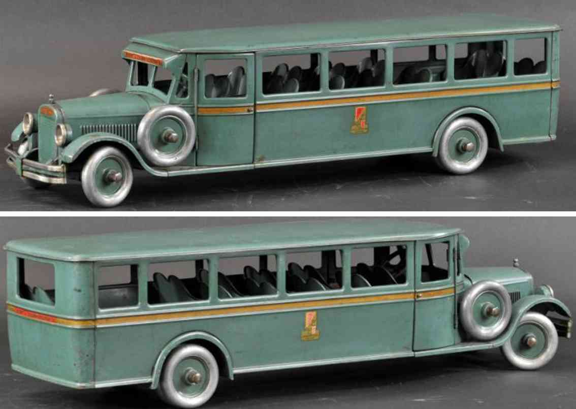 buddy l ressed steel  toy passenger coach bus blue-green