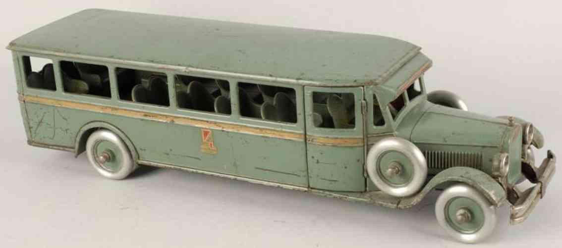 buddy l 208 stahlblech spielzeug autobus gruen