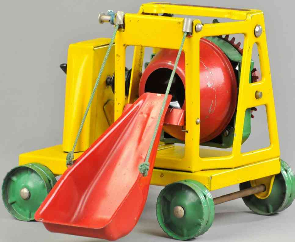 buddy l Cement mixer 8 tin toy cement mixer, pressed steel, done in yellow frame with green