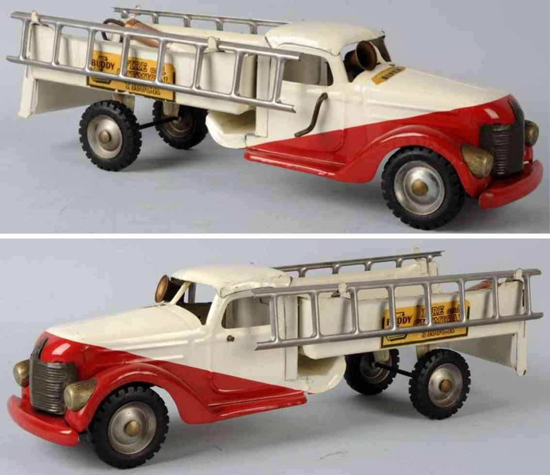 buddy l toy engine pressed steel fire chemical truck white red