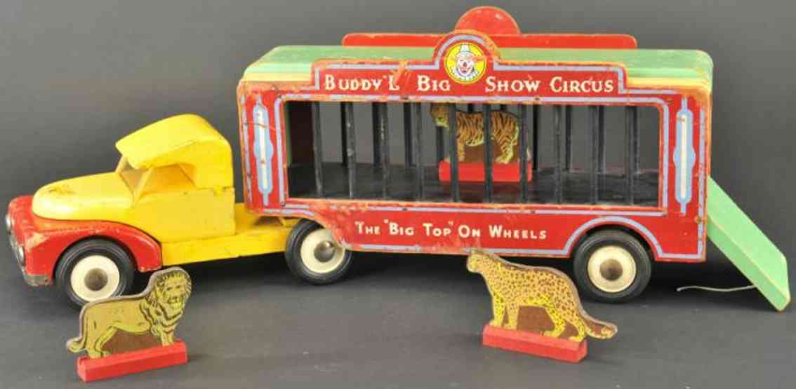 buddy l 484 tin toy truck big show circus cage truck wood  tractor