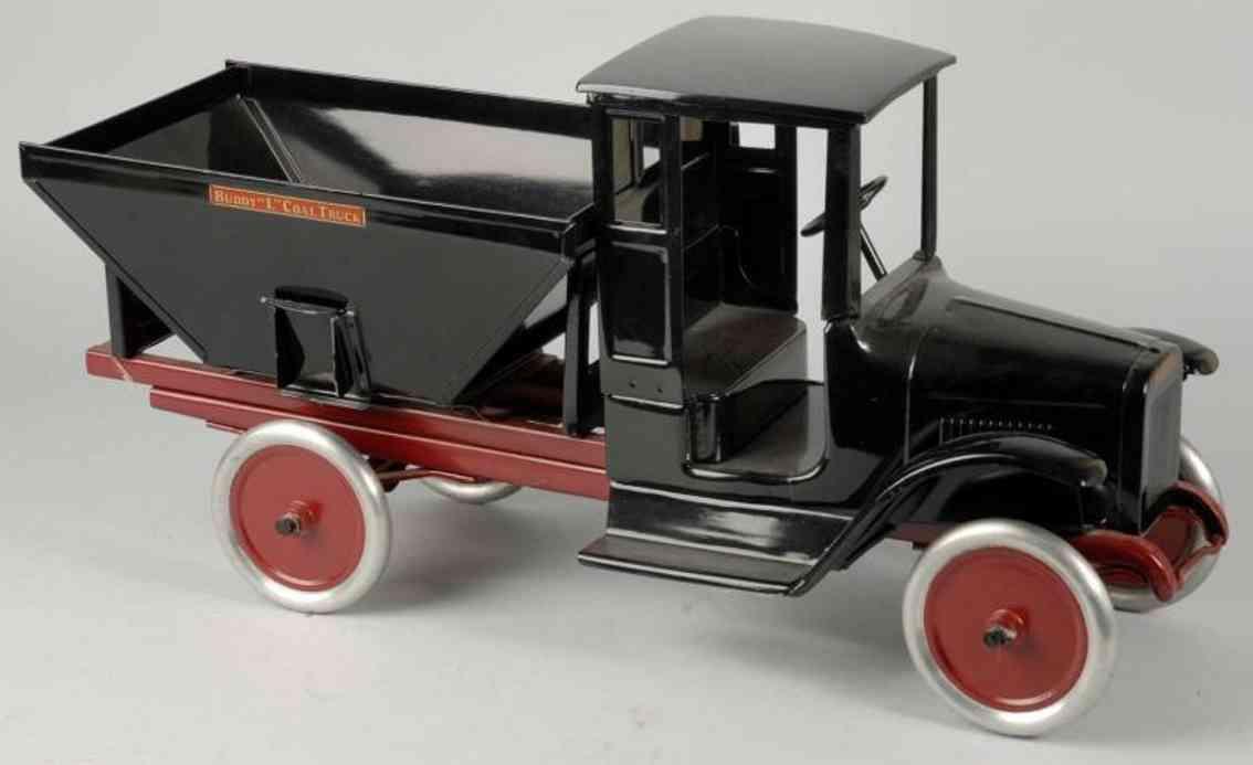 buddy l stahlblech spielzeug kohlen-lastwagen schwarz rot