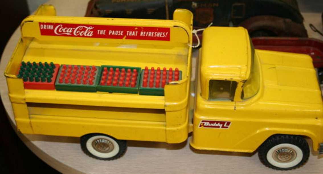 buddy l blech spielzeug coca cola lieferwagen gelb