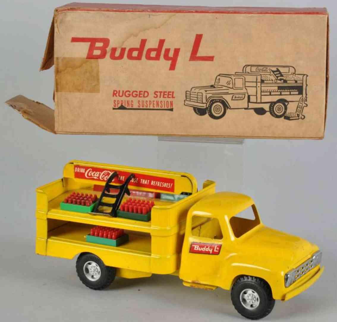 buddy l Coca Cola 19,5 tin toy truck coca cola truck in yellow includes original box