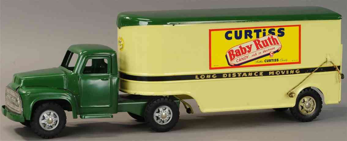 buddy l curtiss baby ruth tin toy truck green yellow