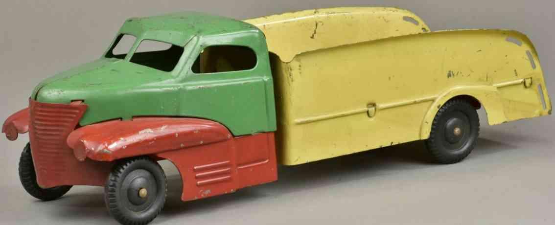 buddy l stahlblech spielzeug lieferwagen rot gruen gelb