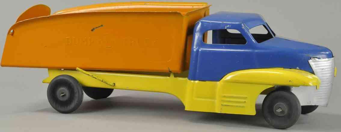 buddy l blech spielzeug stromlinenfoermiger kipplastwagen gelb blau orange