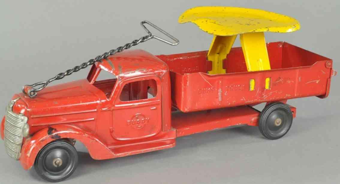 buddy l spielzeug aufsitz-kipplastwagen stahlblech rot gelb