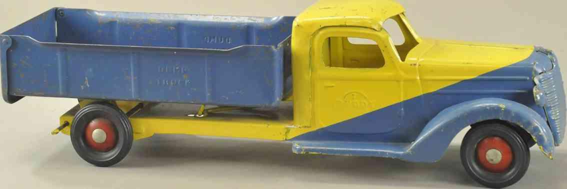 buddy l stahlblech spielzeug kipplastwagen gelb blau