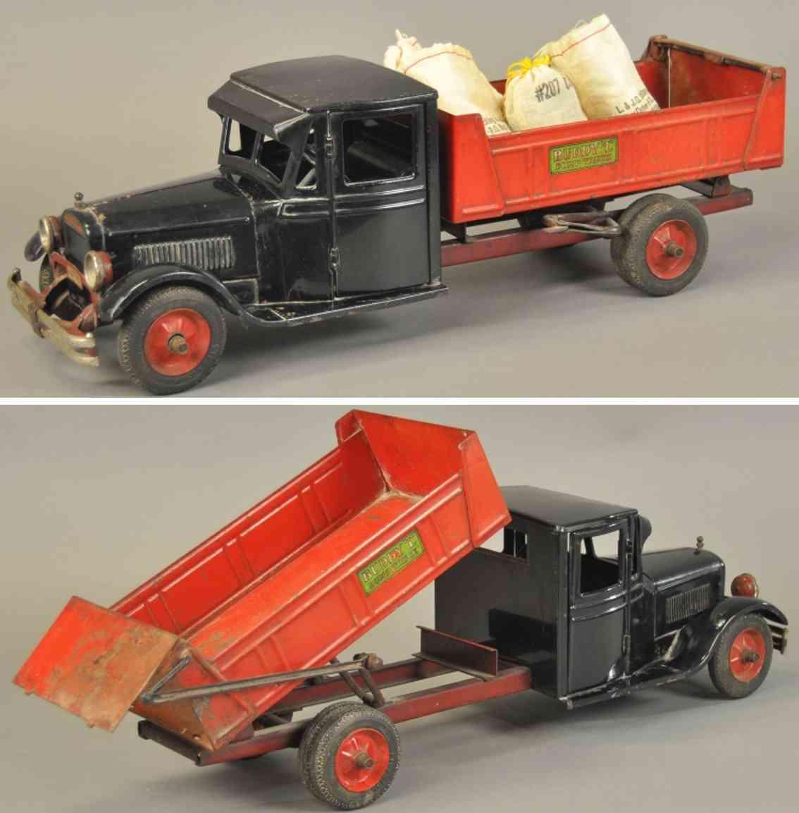 buddy l blech spielzeug kipplastwagen junior serie rot schwarz