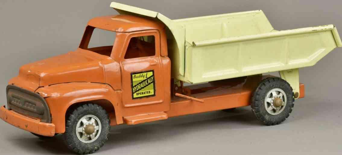buddy l stahlblech spielzeug hydraulischer kipplastwagen orange