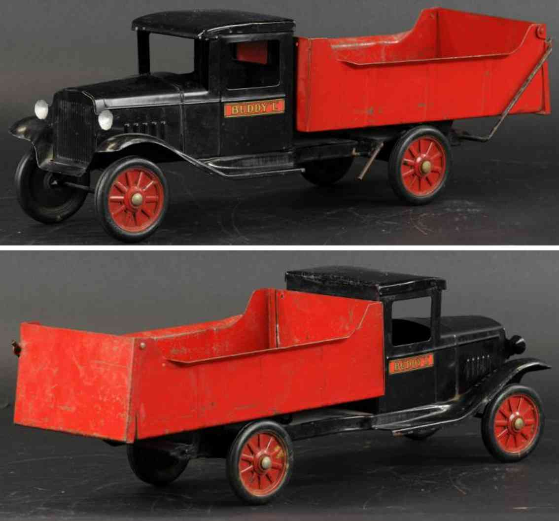 buddy l pressed steel toy manual dump truck black red