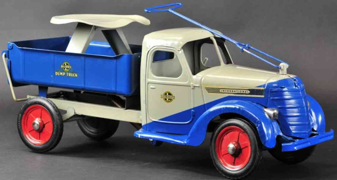 buddy l stahlblech spielzeug aufsitz-/rutsch-kipplastwagen blau grau