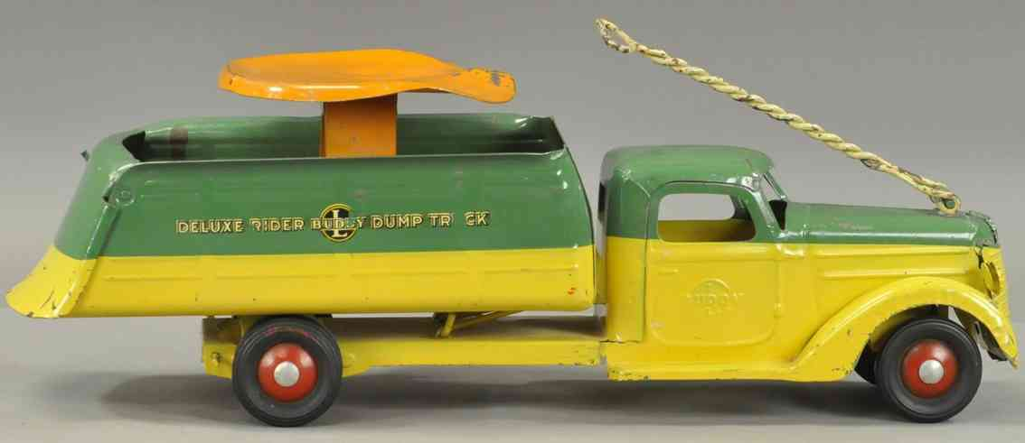 buddy l tin toy deluxe ride-on dump truck yellow green orange
