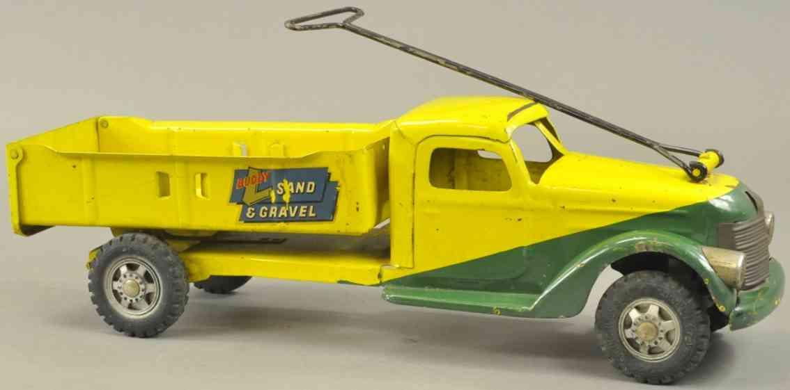 buddy l stahlblech spielzeug kipplastwagen sand kies gruen gelb