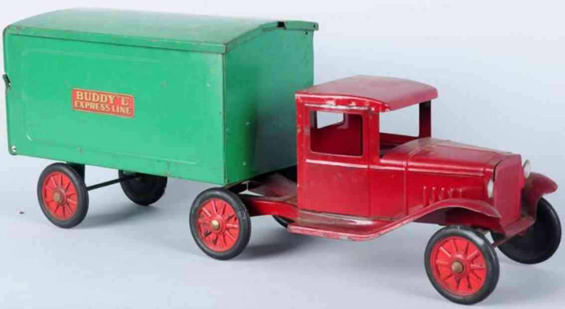 buddy l express line tractor toy pressed steel red green