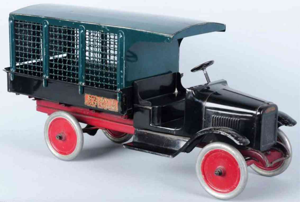 buddy l pressed steel express line truck toy black green
