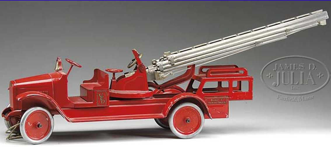 buddy l pressed stell toy fire aerial ladder truck